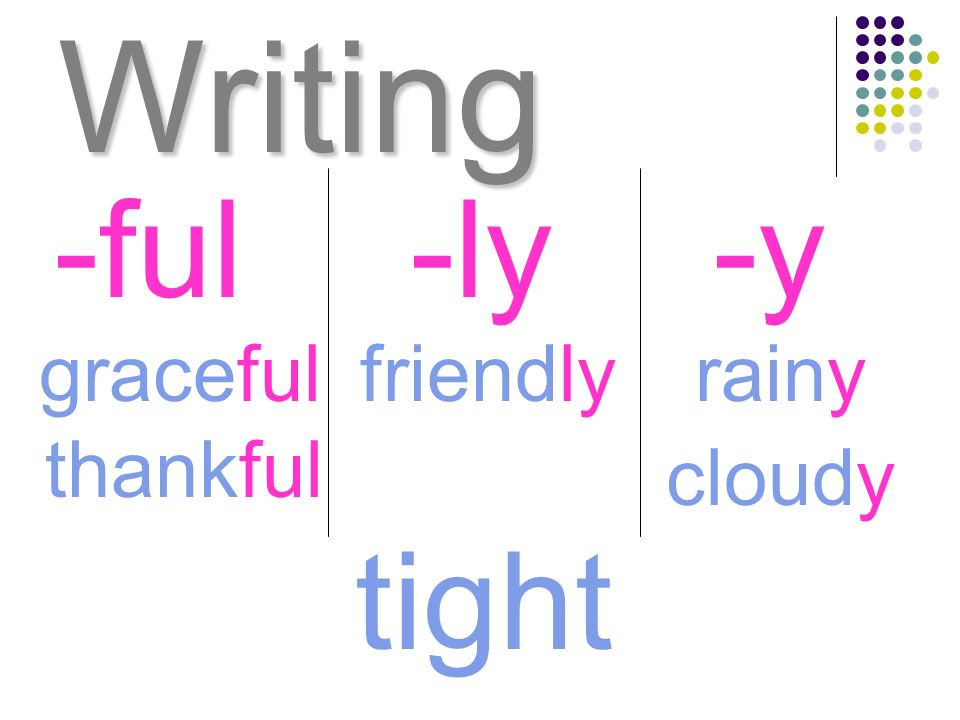Writing -ful -ly -y graceful friendly rainy thankful cloudy tight