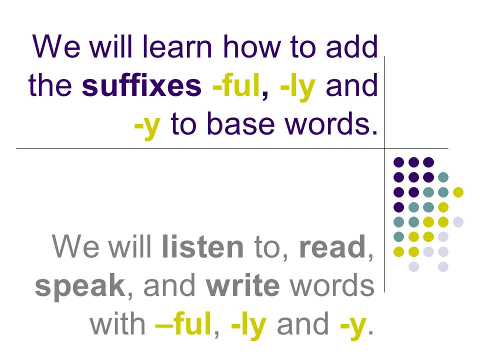 We will learn how to add the suffixes -ful, -ly and -y to base words.