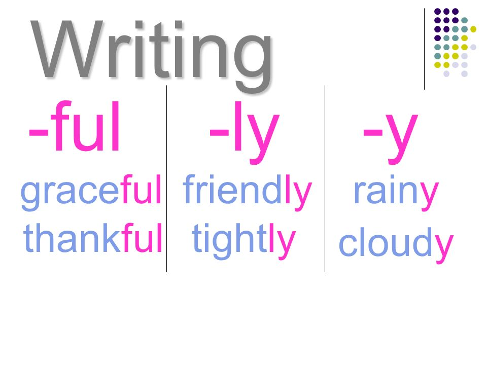 Writing -ful -ly -y graceful friendly rainy thankful tightly cloudy