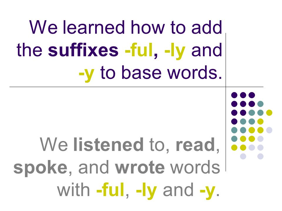 We learned how to add the suffixes -ful, -ly and -y to base words.
