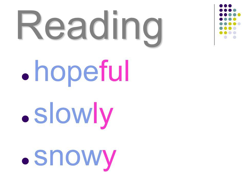 Reading hopeful slowly snowy