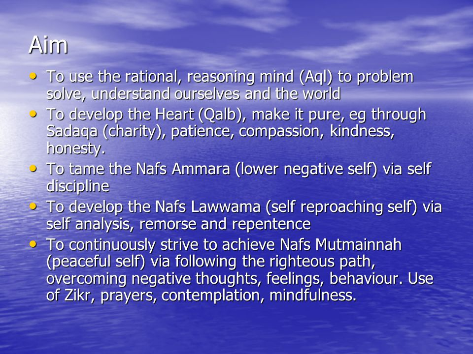 Aim To use the rational, reasoning mind (Aql) to problem solve, understand ourselves and the world.