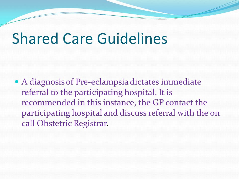 Shared Care Guidelines