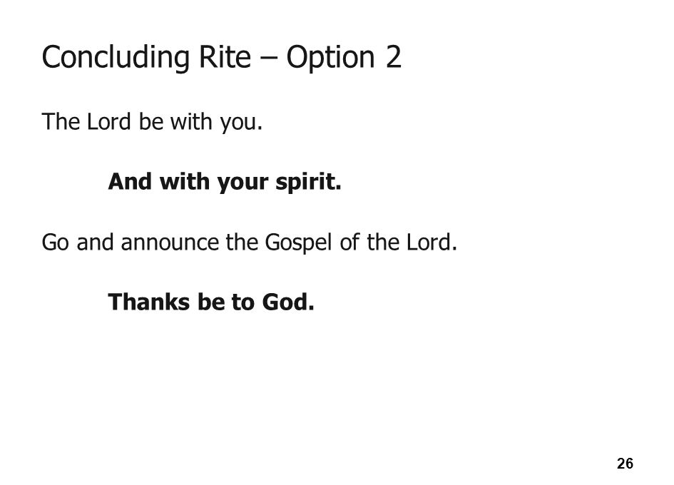 Concluding Rite – Option 2