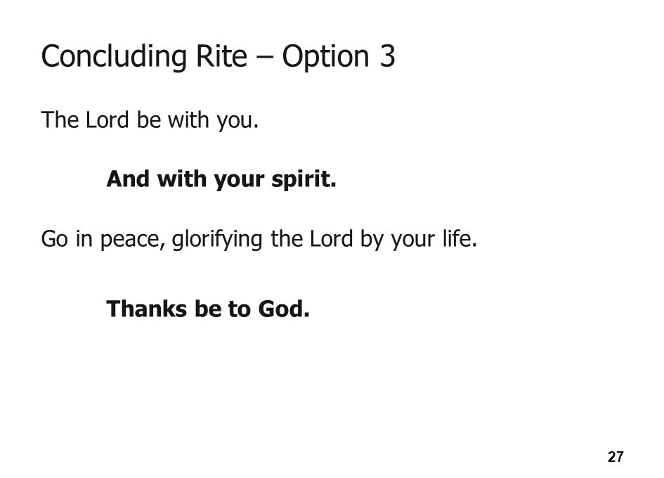 Concluding Rite – Option 3