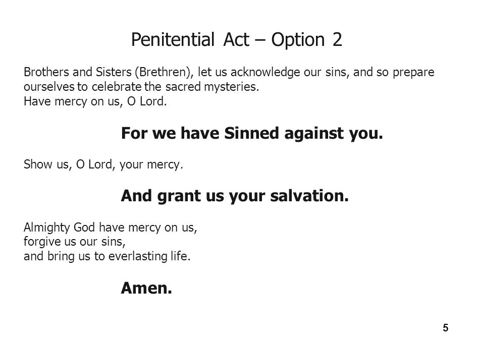 Penitential Act – Option 2