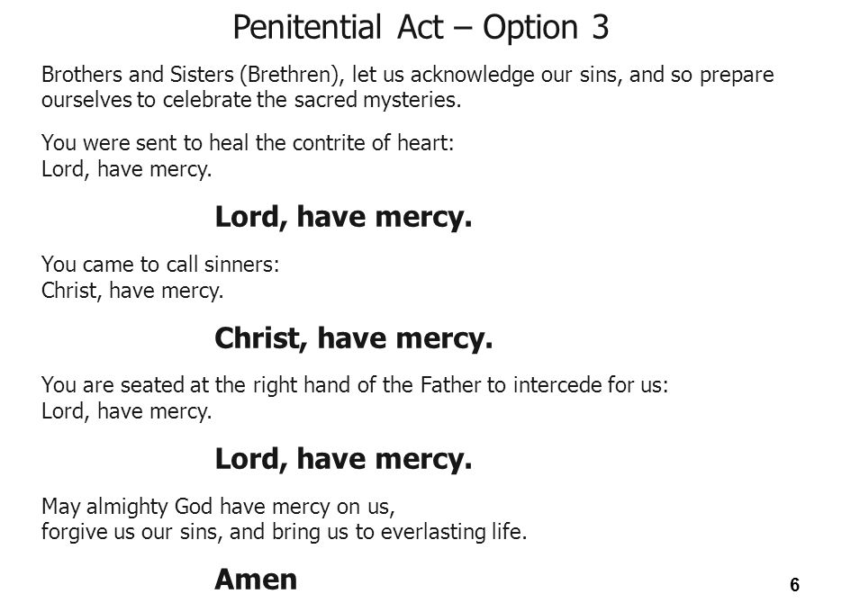 Penitential Act – Option 3