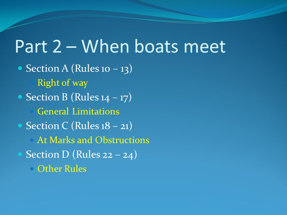 Part 2 – When boats meet Section A (Rules 10 – 13)