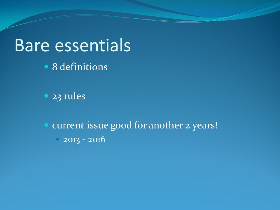 Bare essentials 8 definitions 23 rules