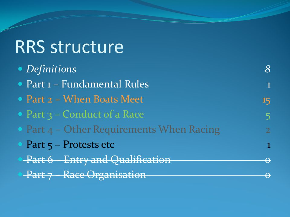 RRS structure Definitions 8 Part 1 – Fundamental Rules 1