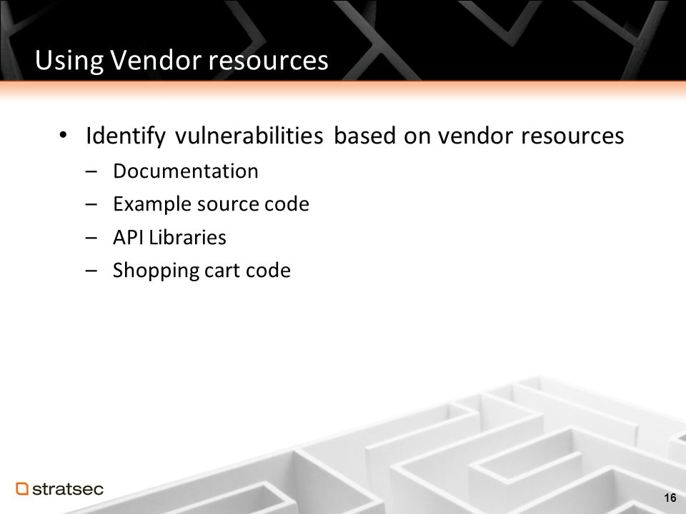 Using Vendor resources