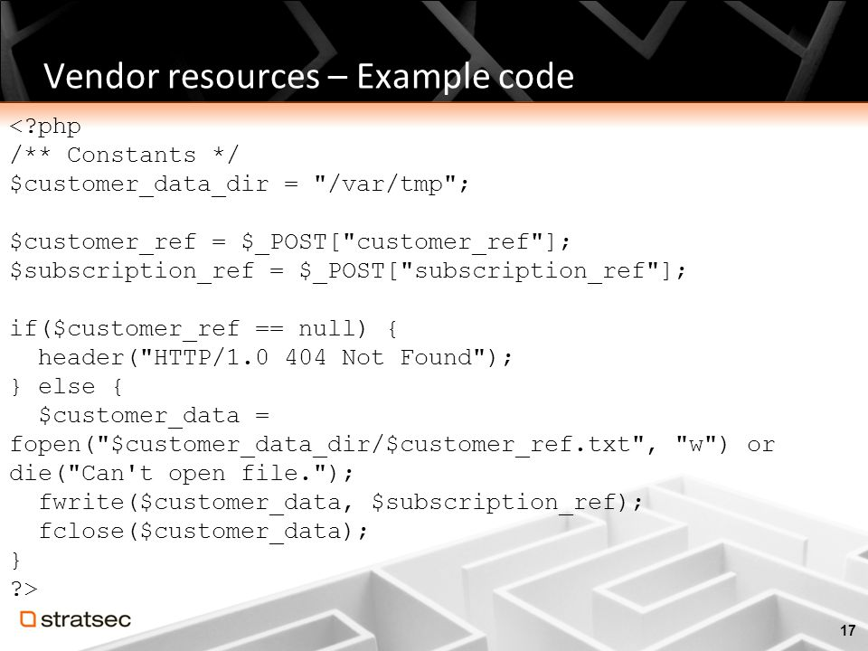 Vendor resources – Example code