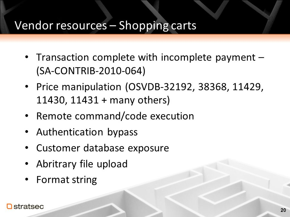 Vendor resources – Shopping carts