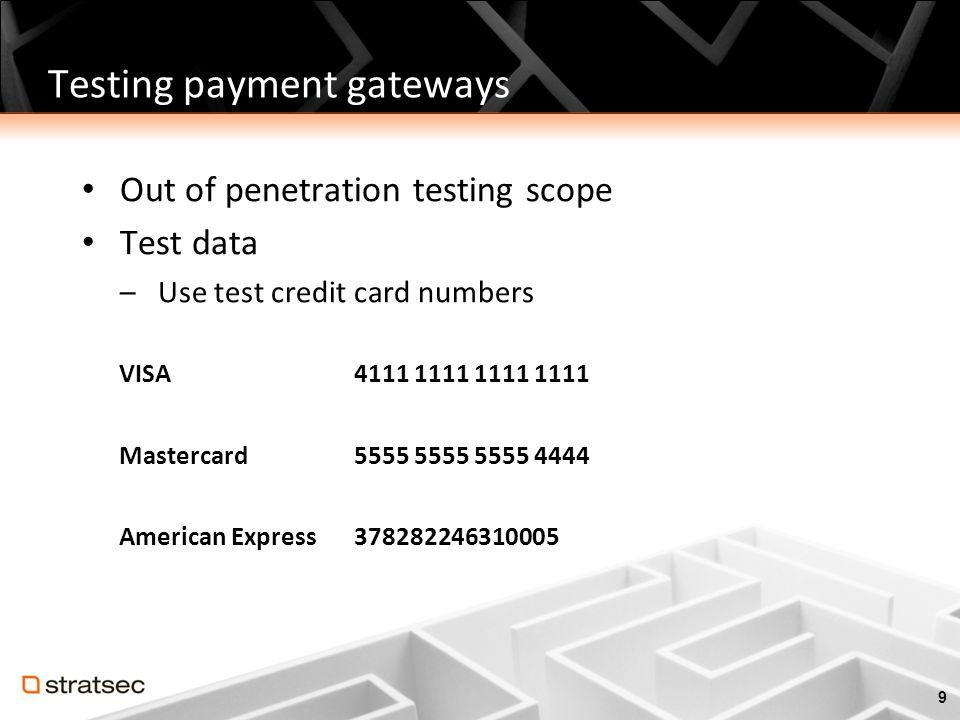 Testing payment gateways