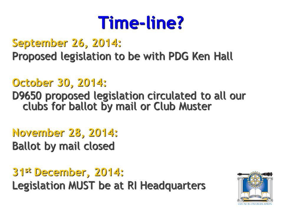 Time-line September 26, 2014: Proposed legislation to be with PDG Ken Hall. October 30, 2014: