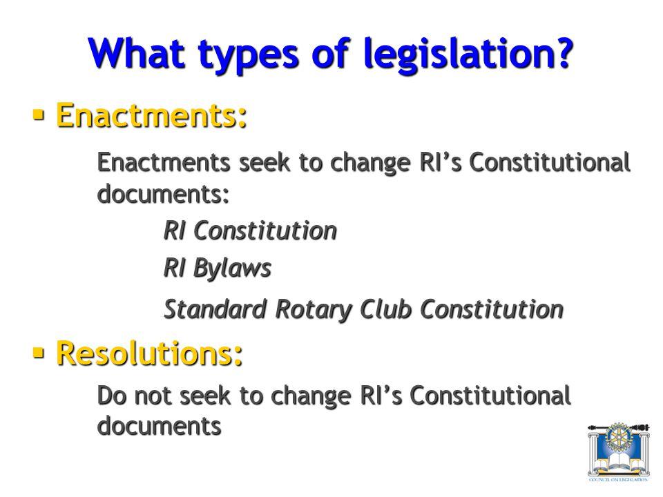 What types of legislation