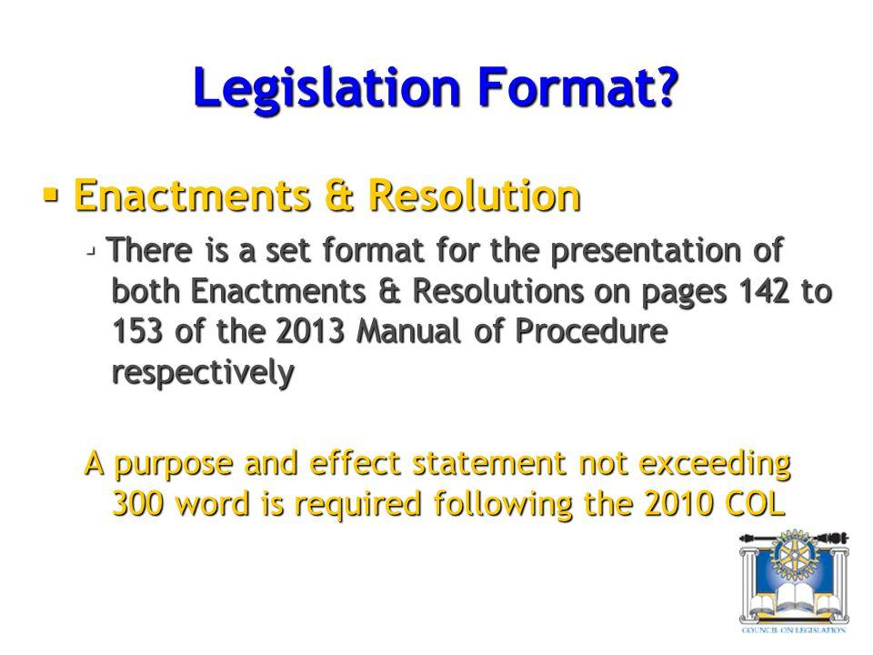 Legislation Format Enactments & Resolution