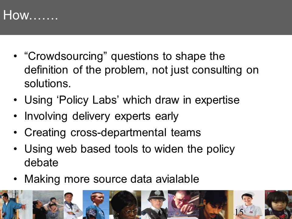 How……. Crowdsourcing questions to shape the definition of the problem, not just consulting on solutions.