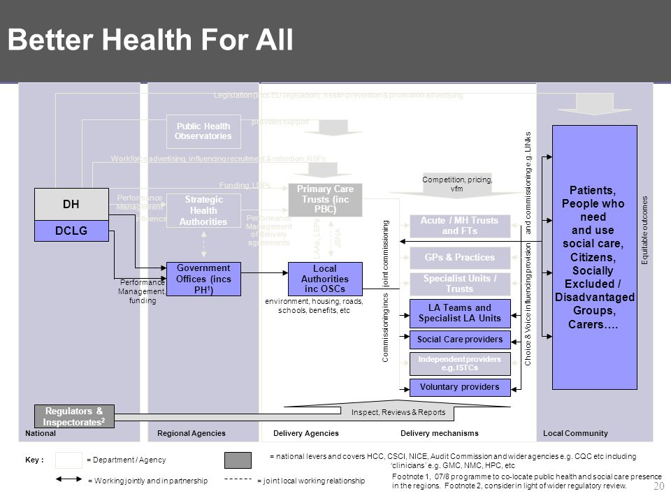 Delivery System for PSA 18 – Better Health For All – DH/CLG strand