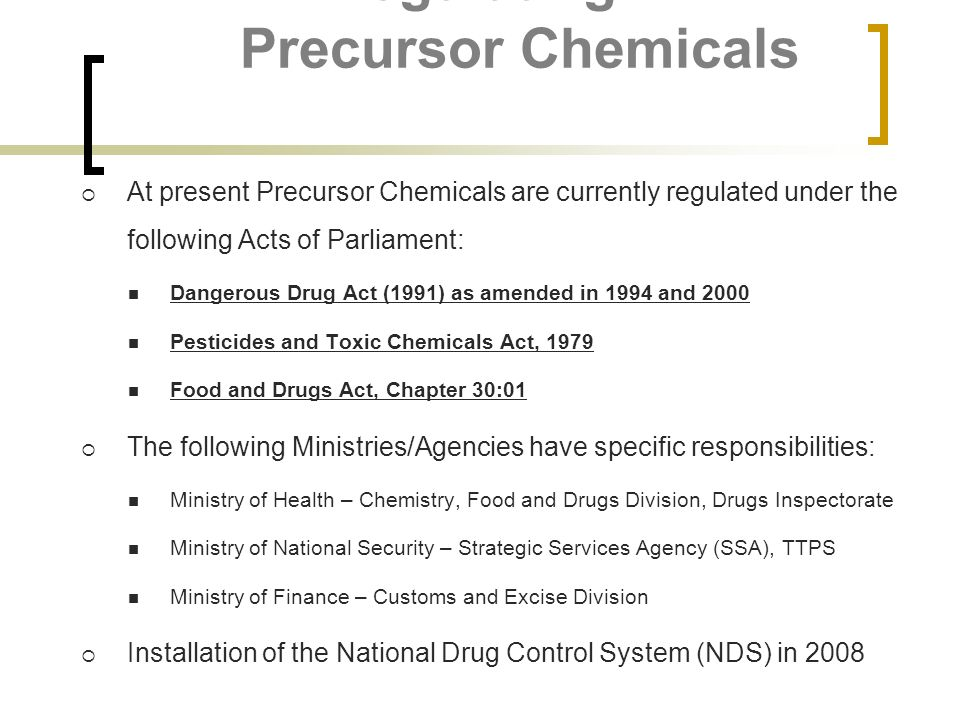 Regulating Precursor Chemicals