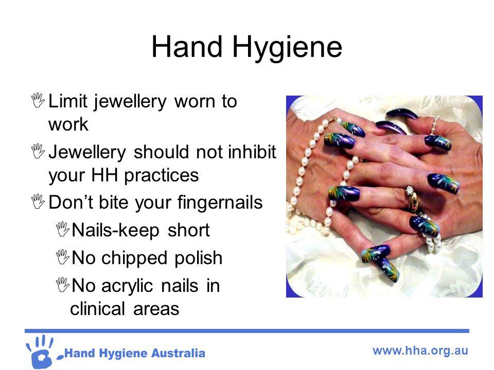 Hand Hygiene Limit jewellery worn to work
