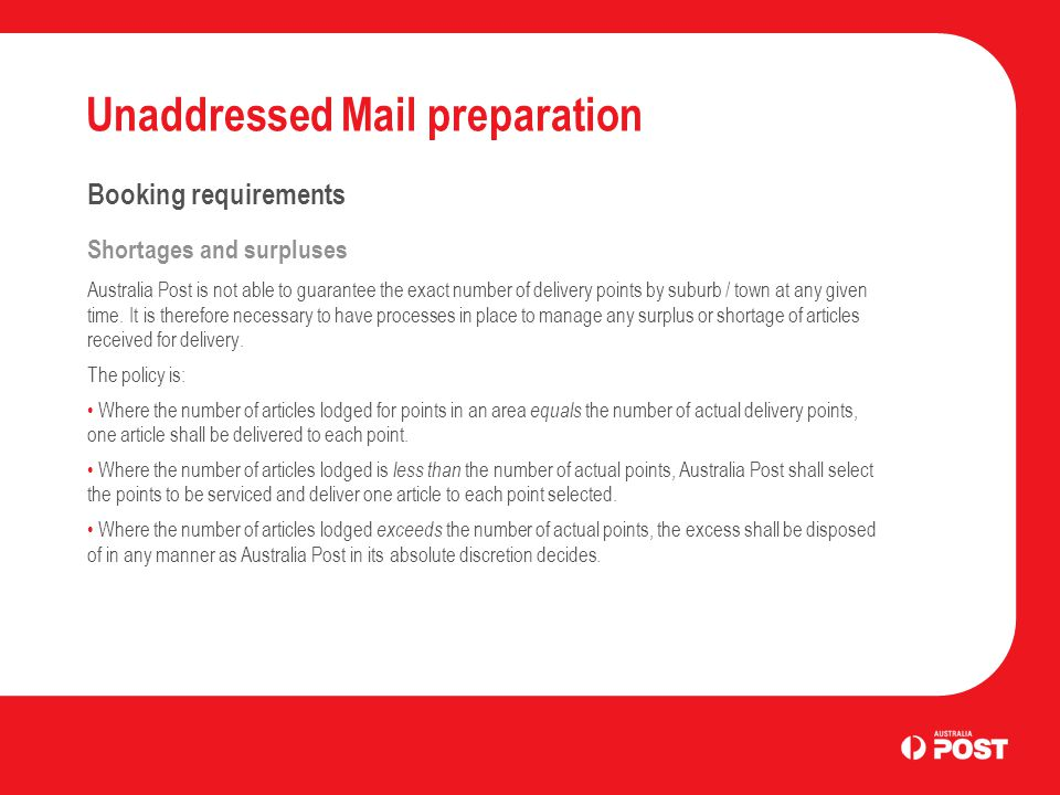 Unaddressed Mail preparation