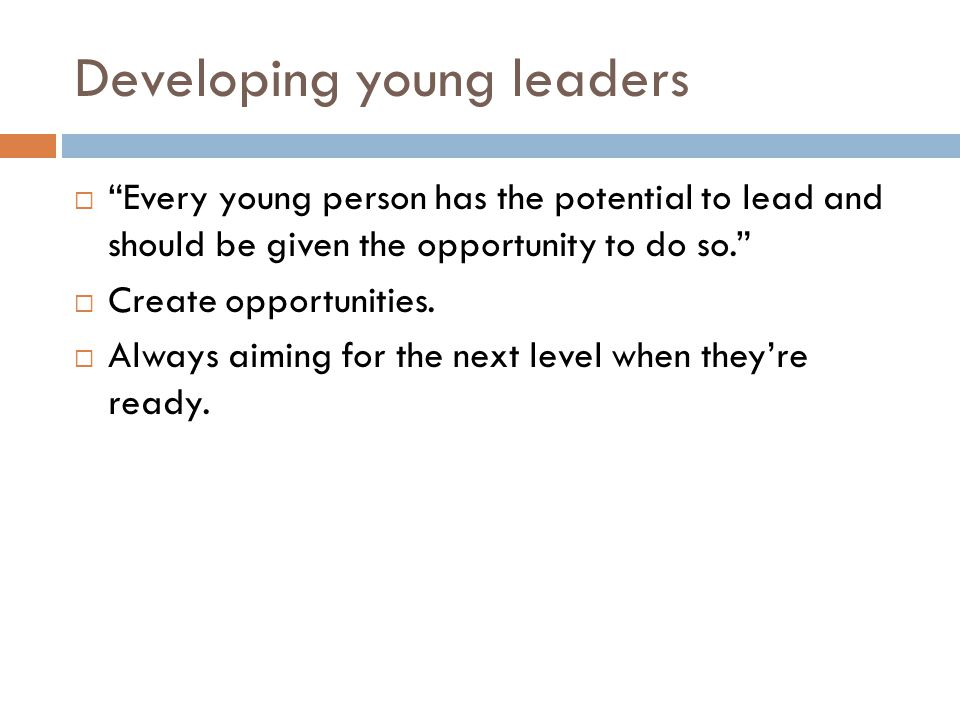 Developing young leaders