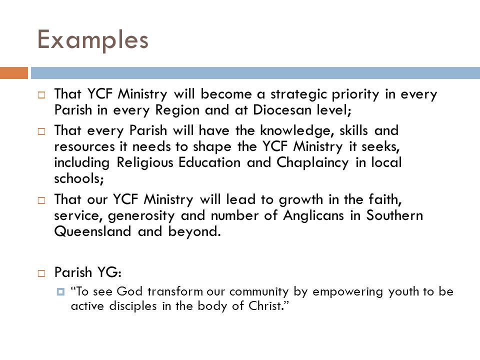 Examples That YCF Ministry will become a strategic priority in every Parish in every Region and at Diocesan level;