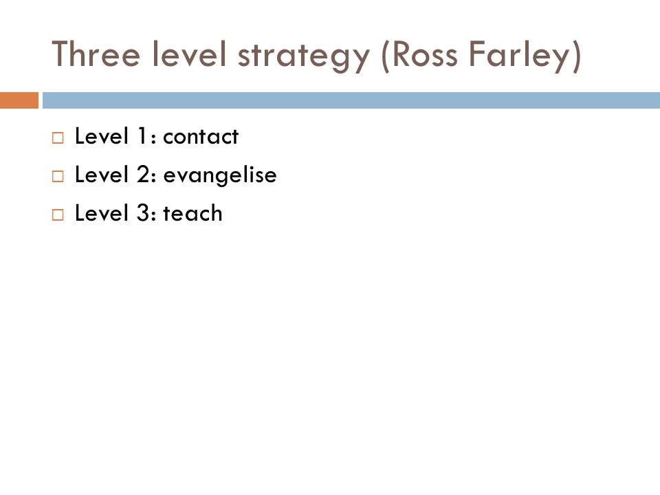 Three level strategy (Ross Farley)