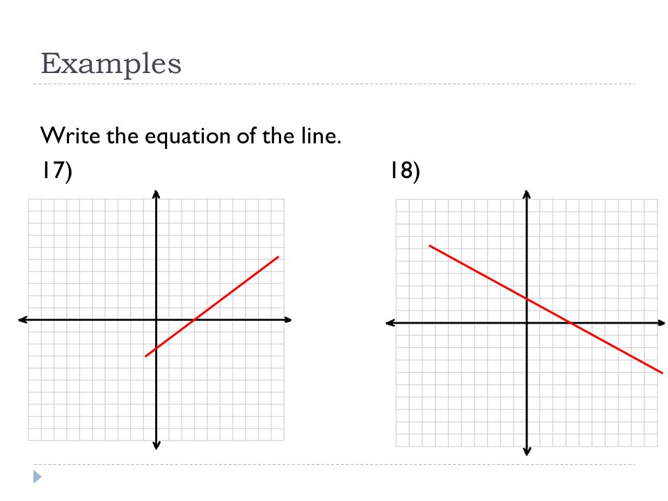 Examples Write the equation of the line. 17) 18)