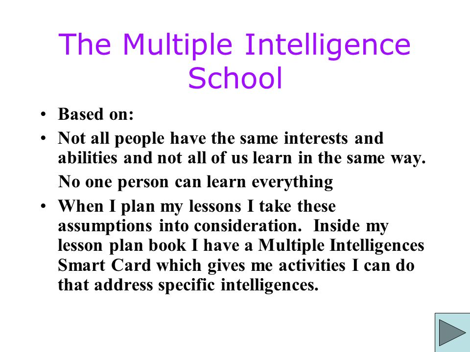 The Multiple Intelligence School