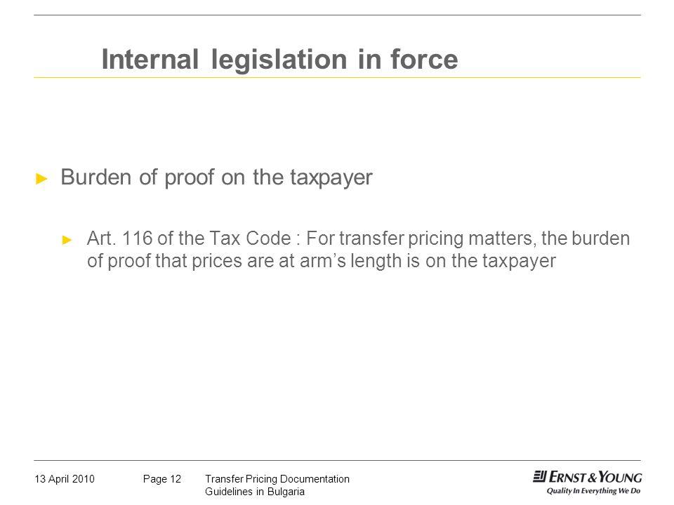 Internal legislation in force