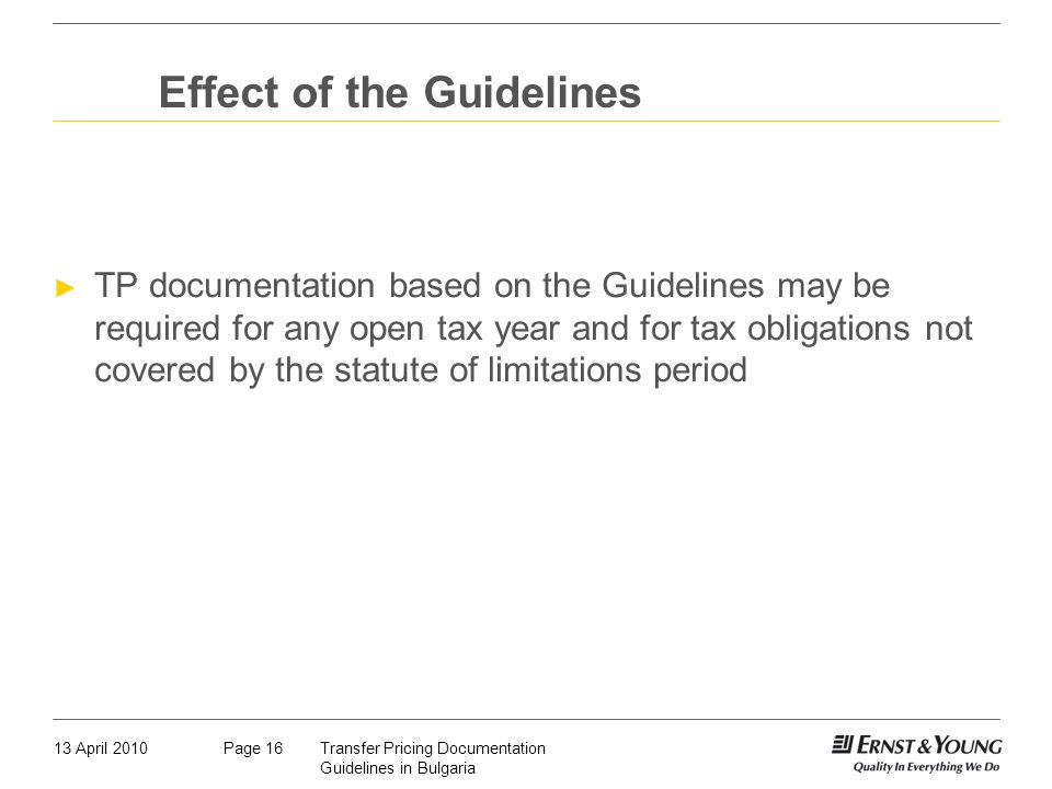 Effect of the Guidelines