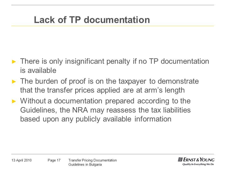 Lack of TP documentation