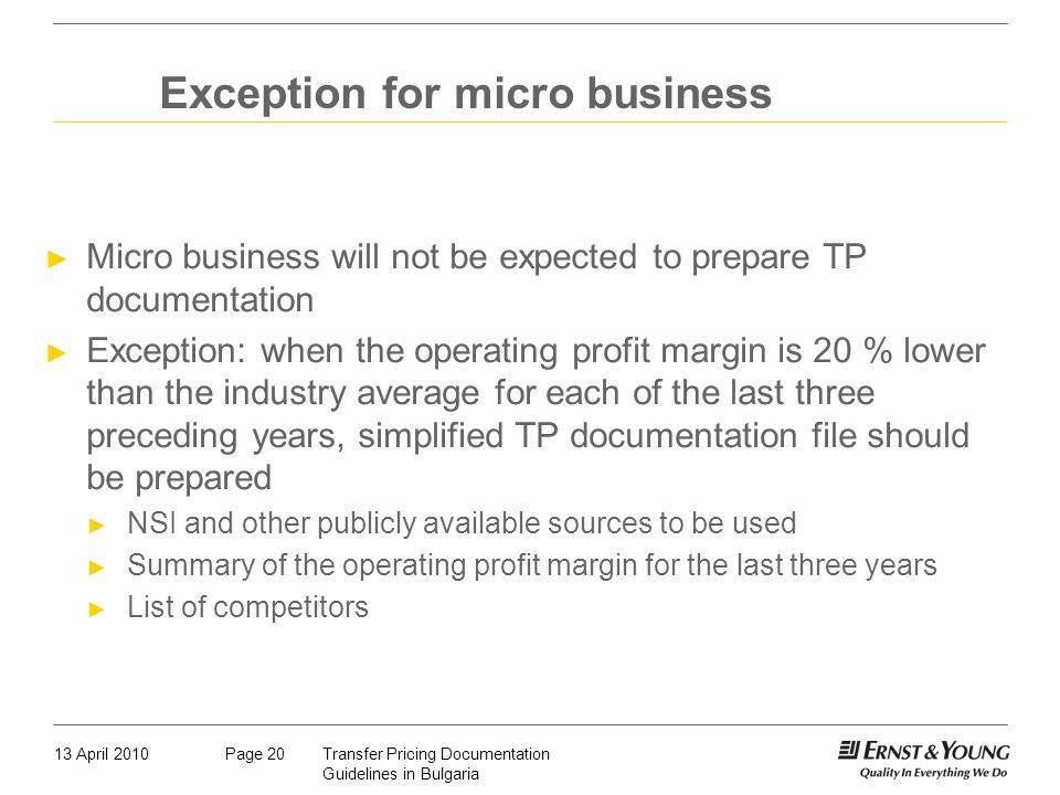 Exception for micro business