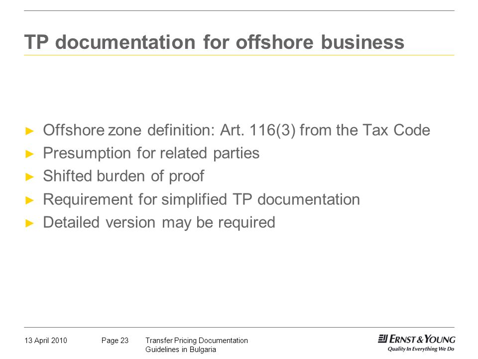 TP documentation for offshore business
