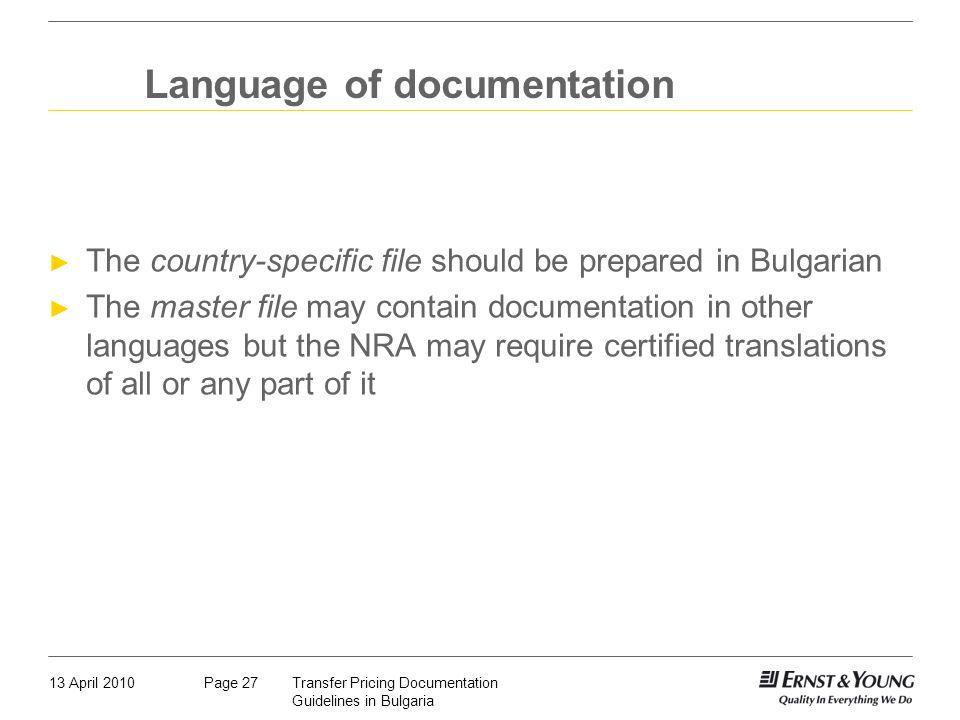 Language of documentation