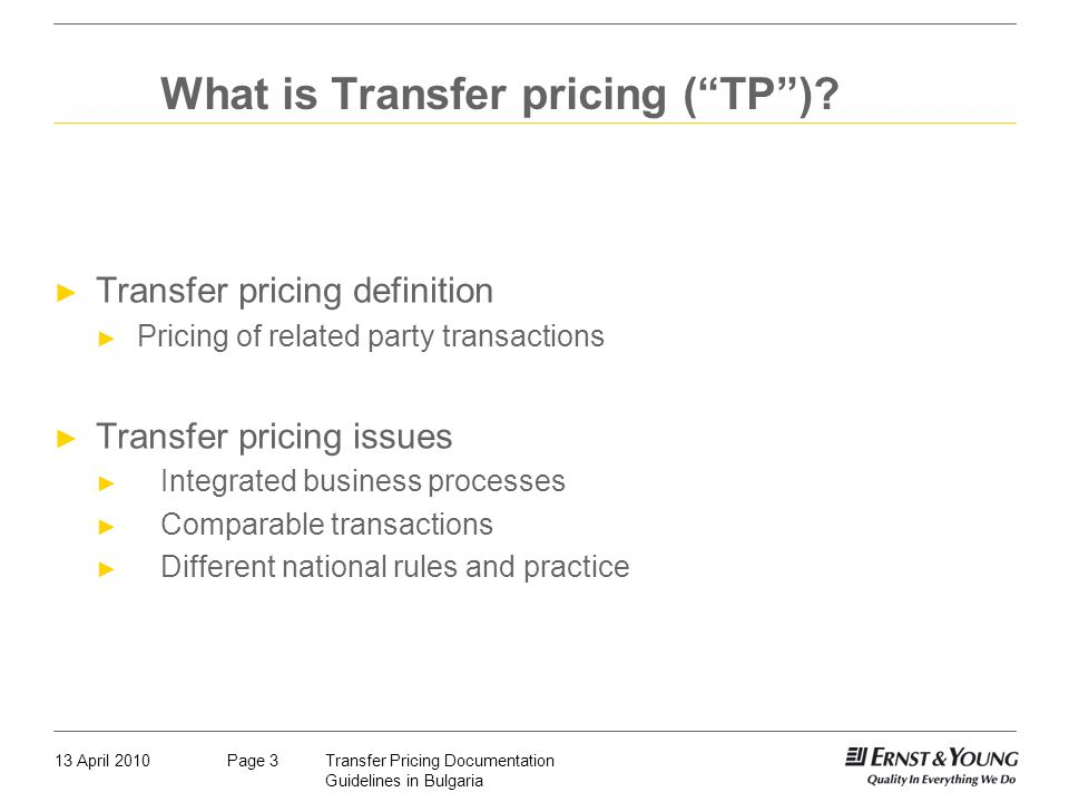 What is Transfer pricing ( TP )
