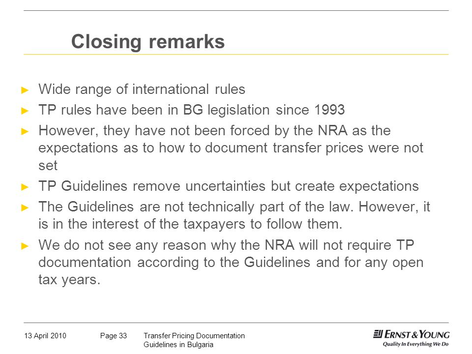 Closing remarks Wide range of international rules