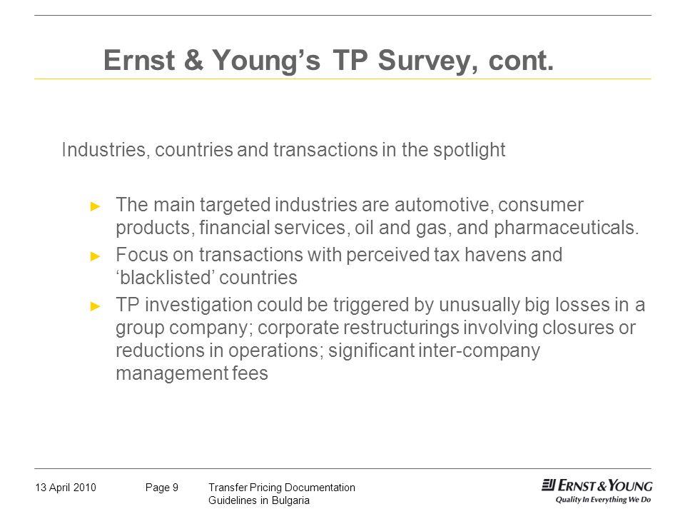 Ernst & Young's TP Survey, cont.