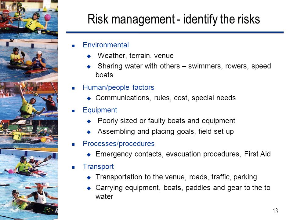 Risk management - identify the risks