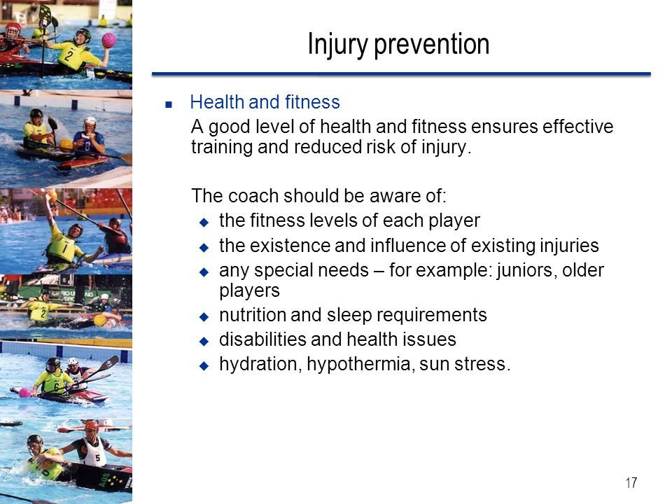 Injury prevention Health and fitness