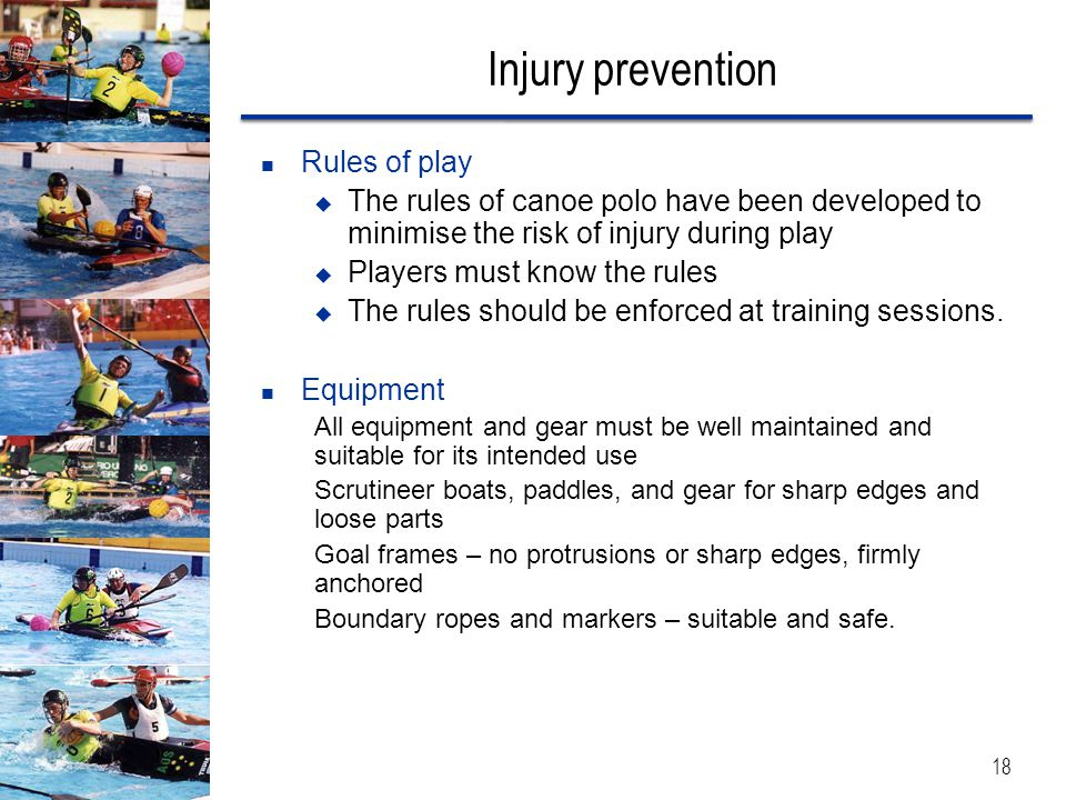 Injury prevention Rules of play