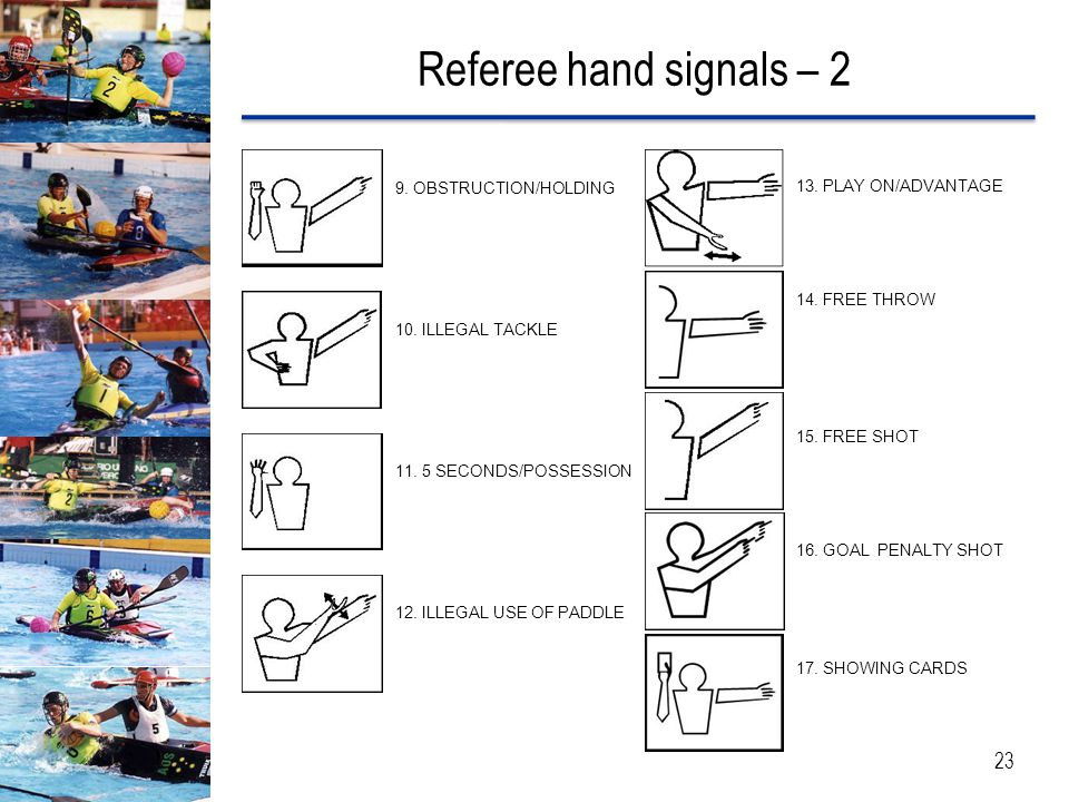 Referee hand signals – 2 9. OBSTRUCTION/HOLDING 13. PLAY ON/ADVANTAGE