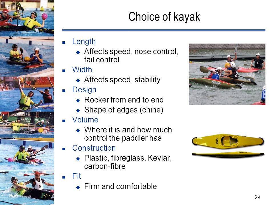 Choice of kayak Length Affects speed, nose control, tail control Width