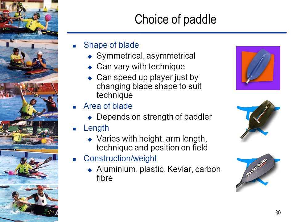 Choice of paddle Shape of blade Symmetrical, asymmetrical