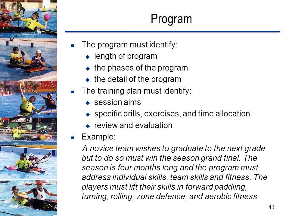 Program The program must identify: length of program