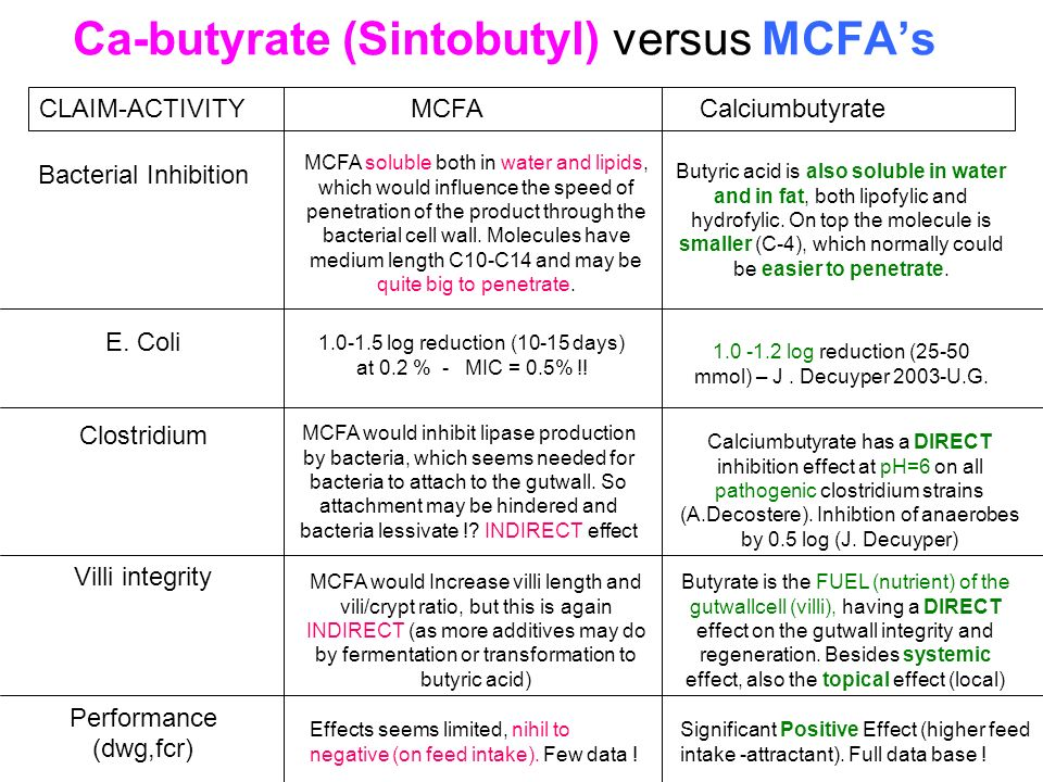 Ca-butyrate (Sintobutyl) versus MCFA's