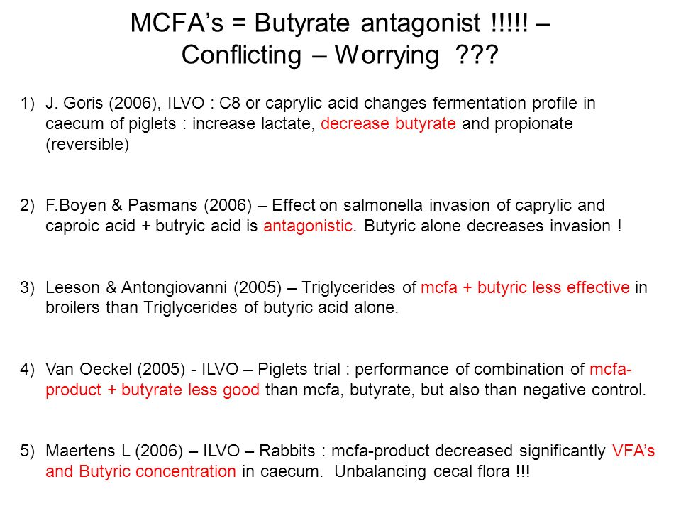 MCFA's = Butyrate antagonist !!!!! – Conflicting – Worrying
