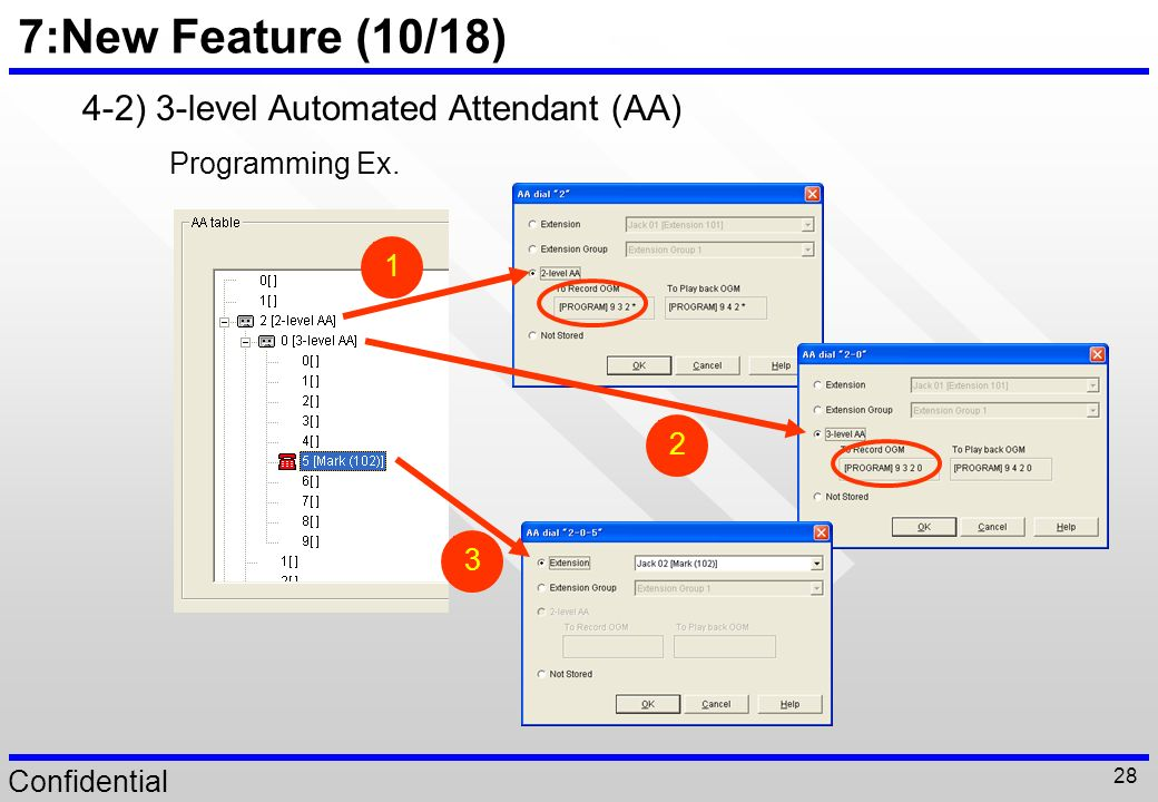 7:New Feature (10/18) 4-2) 3-level Automated Attendant (AA)